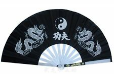 Black Chinese Dragon Stainless Steel Frame Tai Chi Martial Arts Kung Fu Fan