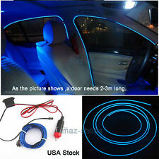 3M 12V EL Wire Nice Blue Cold light Neon Lights Atmosphere Lights Door Decor #1