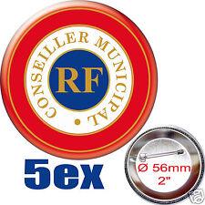 5 BADGE ROND [56mm]5x CONSEILLER-MUNICIPAL