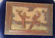 Antique Chinese Wood Carved Plaque Two Immortals Fighting
