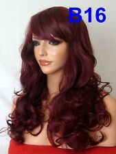 Wine Red Wig Natural Curly Fashion Party FULL WOMEN LADIES LONG WIG B16