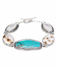 Barse Sterling Silver Turquoise Tiger Cowry Shell Mother-of-Pearl Link Bracelet
