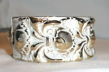 Vtg Bracelet Wide Hinged Clamper Gold Tone White Wash Repousse