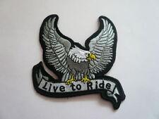 Adler,Ride To Live ,Patch,Aufnäher,Badge,Biker,Aufbügler,Iron On,Silber