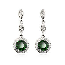 STUNNING 18K WHITE GP GENUINE EMERALD SWAROVSKI CRYSTAL DANGLE EARRINGS