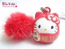 DARUMA HELLO KITTY Tuft Bell Phone Bag Charm Strap for Lucky