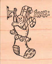 New ART IMPRESSIONS RUBBER STAMP Christmas Stocking From: free us ship