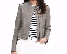 NWT Banana Republic Gray Leather Moto Jacket, Seal Grey SIZE L       #171040