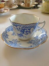 VTG Rosina Blue and White Tea Cup and Saucer Flowers Lattice