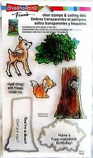 STAMPENDOUS Clear Stamp Set and Die FORREST Fox Deer Tree Owl CSD03