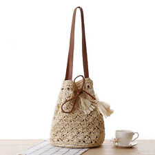New Women Handbag Straw Woven Purse Summer Beach Shoulder Bag Drawstring Tote