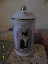 LENOX CATS OF DISTINCTION DILL SPICE JAR, FINE PORCELAIN 1995