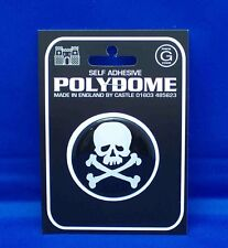 Skull & Crossbones Round Polydome Raised Badge PD4