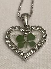 REAL FOUR LEAF CLOVER PENDANT HEART (Brilliant white)