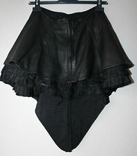 Black 100% Real Leather Frill Trim Asymmetrical Victorian Skirt Size UK 8 UK 10
