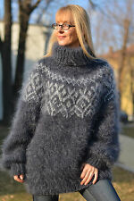 DUKYANA Hand Knitted Mohair Sweater Icelandic Jumper Thick Pullover Soft Tneck