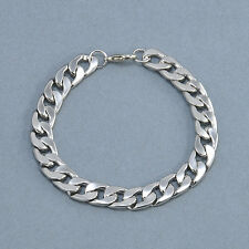 Punk Silver Men's Titanium Steel Chain Link Bracelet Wristband Bangle Jewelry