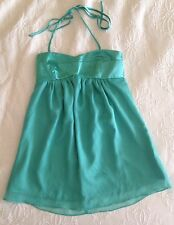 Forever 21 Turquoise Tiffany Blue Satin Chiffon Babydoll Mini Halter Dress, sz S