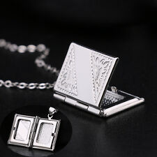 Living Memory Silver Plated Book Locket Photo Frame Pendant Necklace With Chain
