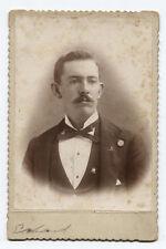 CABINET CARD PORTRAIT MAN IN FORMAL WEAR. JOHN WEST I.D. ON CARD BACK.