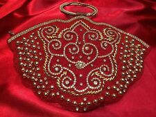 Burgundy Hand bag Clutch Wallet Bollywood Indian Dress Purse Pearl Beads Diamond