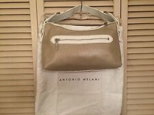 Gold purse Antonio Melani NEW handbag White Leather Metallic Linen $119