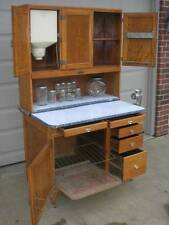 OAK Hoosier SELLERS Cabinet w Flour Bin, 10pc. original Glassware Set with Rack