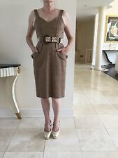 David Meister NWT Women's Linen Tweed Dress With Belt Brown In Size 4