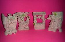 Vintage Set of 4, pink Mojae figurines: wishing well, bird house, rooster & log