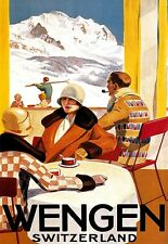 Art Poster Wengen Switzerland Ski Travel    Print