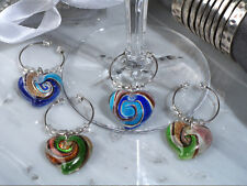 1 Set Murano Art Deco Heart Design Wine Charms 4 Charms Wedding Reception Gift