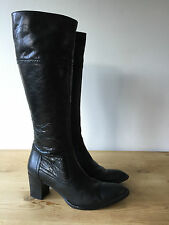 ROJO LADIES BLACK LEATHER KNEE HIGH ANKLE BOOTS UK4