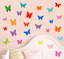 Colourful Butterfly Silhouette - Pack of 25 - Wall Art Vinyl Stickers Decals