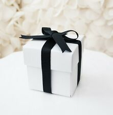 10x Simple White Square Favor Boxes with Lid Wedding Baby Shower Box Container
