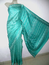 A  MYSTIC  SEA-GREEN  COLOR  PURE  SILK  SOFT  IMAGE  PRINTED  SARI WITH BLOUSE