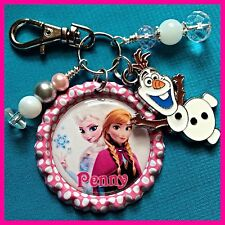 Personalized FROZEN ELSA ANNA OLAF Bottle Cap Name Necklace Jewelry, Zipper Pull