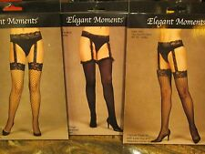 3 PAIR LOT ELEGANT MOMENTS ATTACHED GARTER STOCKINGS ONE SIZE