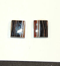 Black and White Agate 10x12mm Cabochons Set of 2 (6037)