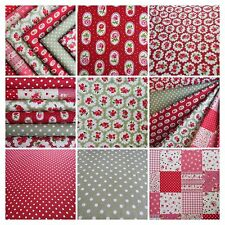 Christmas Fabric 6 FAT QUARTER bundle red green Floral 100% cotton vintage style
