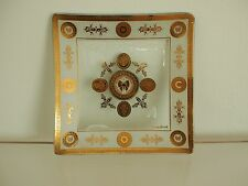 """Georges Briard Gold Leaf Butterfly Medalion 6"""" Plate Mid Century Modern SIGNED"""