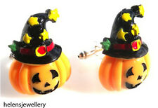 GORGEOUS HANDMADE HALLOWEEN WIZARD PUMPKIN CUFFLINKS + FREE GIFT BAG