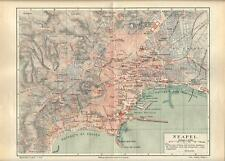 Carta geografica antica NAPOLI pianta della città 1890 Old antique map