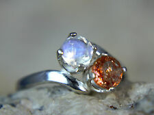 MOONSTONE & SUNSTONE - Faceted Celestial .925 Sterling 2-stone Ring 0.79ctw