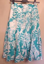 Coast UK8 EU36 US4 white and turquoise double lined floral full skirt
