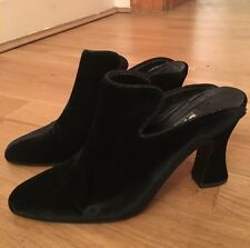 Vintage DKNY Donna Karan 90s Black Velvet Slip On Heeled Mules -size 39.5 US 9.5