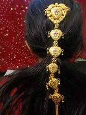 women gold hair choti falls bun pin south Indian head dress wedding jewelry ATS