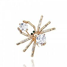 GORGEOUS 18K ROSE GOLD PLATED AND SWAROVSKI CRYSTAL CLEAR SPIDER  BROOCH