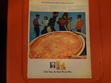 "1965 Chef Boy-Ar-Dee Pizza Mix Vintage  Ad ""The Party-time pizza"""