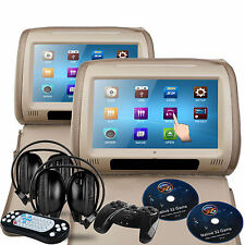 Sonic Audio HR-9 Beige Leather-Style Car DVD Headrests SD/USB/Games/Headphones