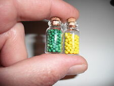 D00402  2 Miniature Storage Jars/OOAK,Doll Houses,Crafts,Barbie,Shadow Boxes
